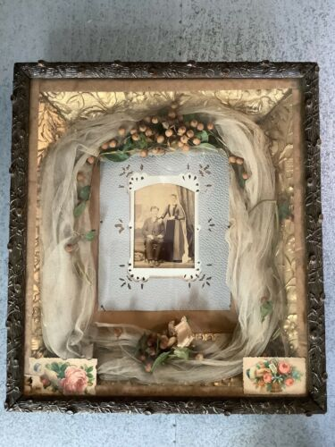 Antique Victorian Mourning Wedding Custom Shadow Box Wood Carved Gilt Frame WOW!