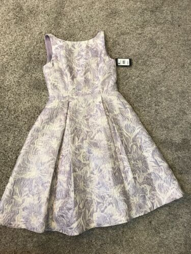 Adrianna Papell Purple Lilac White Silver Cocktail Dress Party Wedding Pockets 6 - $65.00