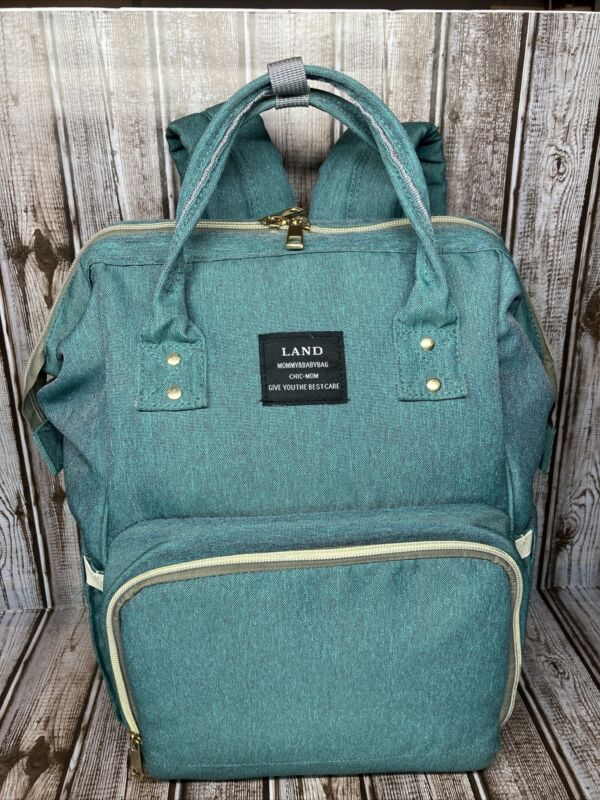 Land Mommy & Baby Diaper Bag Teal Blue Backpack GREAT Shape 14 Pockets/Pouches