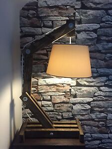 reclaimed wooden handmand unique arc table lamp ebay. Black Bedroom Furniture Sets. Home Design Ideas
