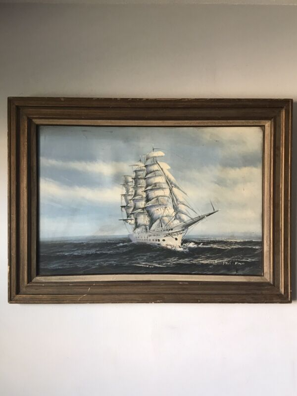 1950s NAUTICAL SEASCAPE OIL PAINTING -SIGNED- VINTAGE SHIP BOAT IMPRESSIONIST