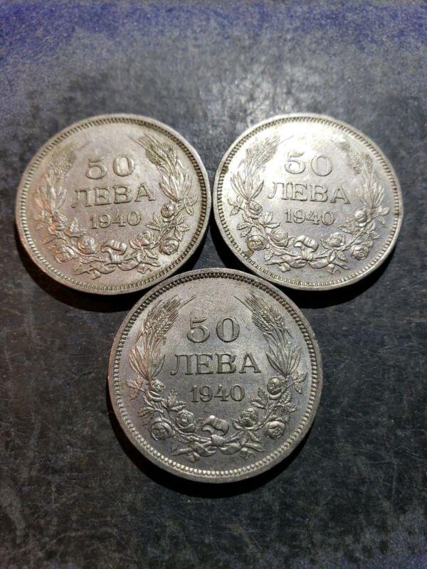 3 Coin Lot Bulgaria 1940 50 Leva Coins (nice coins)