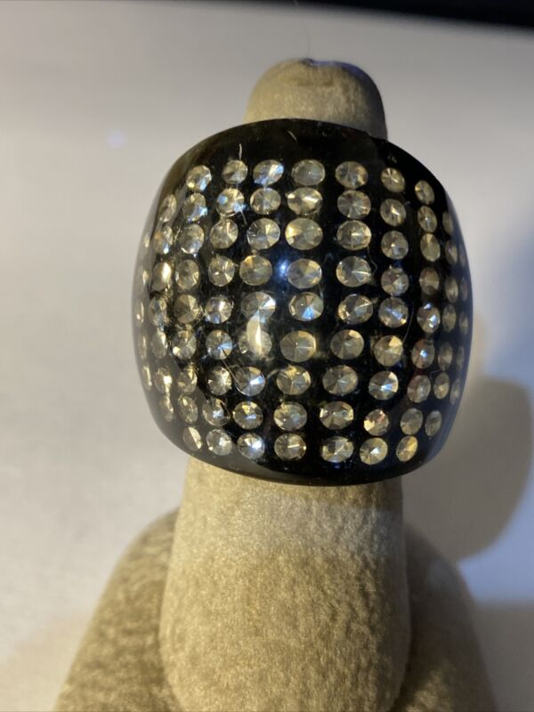 EXTREMELY RARE SCARCE ART DECO CLEAR LUCITE RHINESTONES INSIDE RING SZ 6 3/4-7