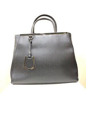 FENDI 2Jours Black Medium Saffiano Leather Handbag Bag Tote Shoulder Strap