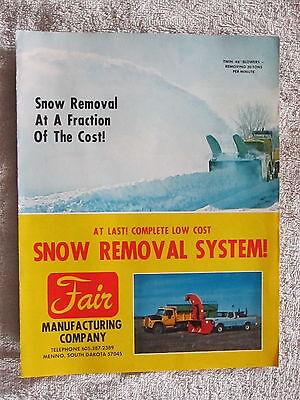 Vintage Fair Mfg.co. Truck Tractor Snow Blowers Snowplow Brochure