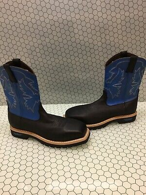CINCH Black/Blue Leather Square Steel Toe Pull On Cowboy Boots Men's Size 11.5 D Leather Steel Girth