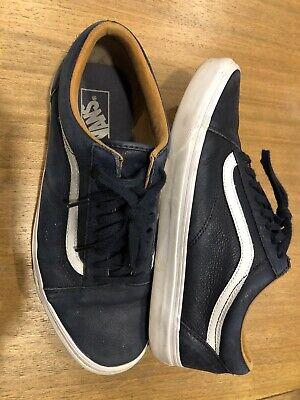 VANS Mens Old Skool Laceup Skate Surf US 9.5 UK 8.5 Navy Blue Leather Dunk $90