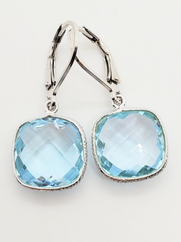 New Closeout Sterling Silver .925 15 Carat Cushion Cut Blue Topaz Dangle Earring