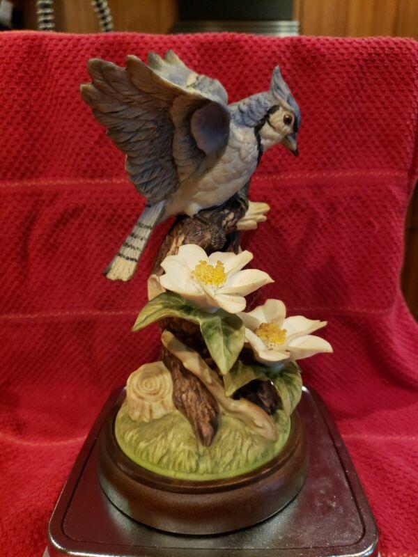 "VTG Blue Jay Handpainted Porcelain Collectible Angeline Originals Japan 7.5"""