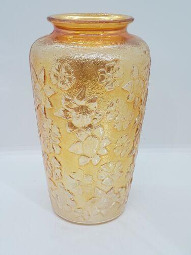 """Vintage Iridescent Marigold Carnival Depression Floral Glass Vase 7.5"""""""