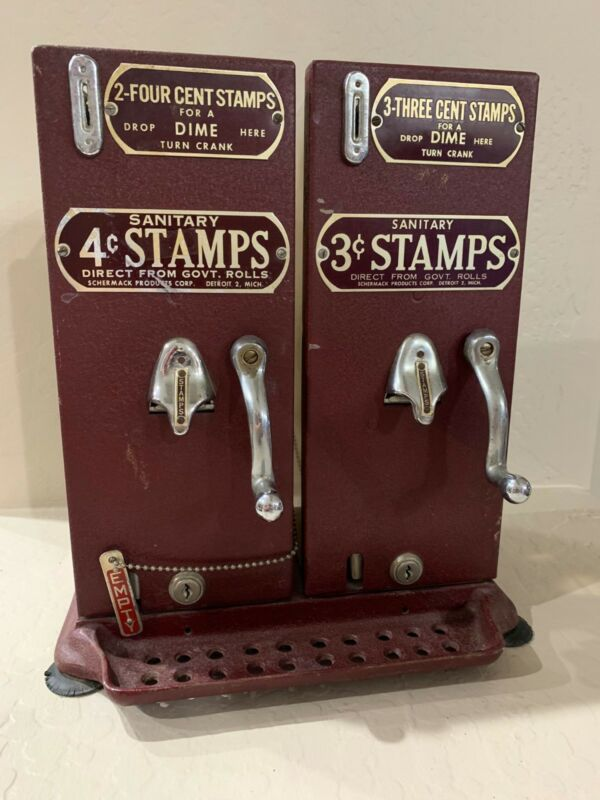 Old Schermack Prod Detroit 3 & 4 Cent Stamp Vending Machine Double See Through