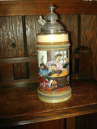 Vintage Thewalt Etched Lidded Beer Stein-278