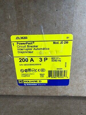 Square D Jdl36200 Circuit Breaker 3 Pole 200 Amp 600 Volt Brand New In Box