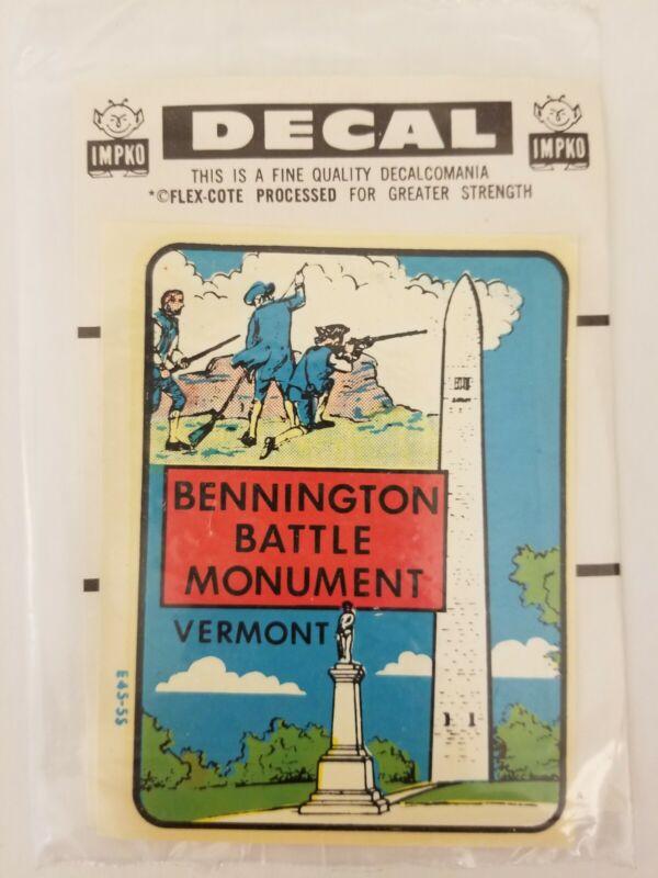 Vintage Impko Bennington Battle Monument Vermont Souvenir Travel Decal Original