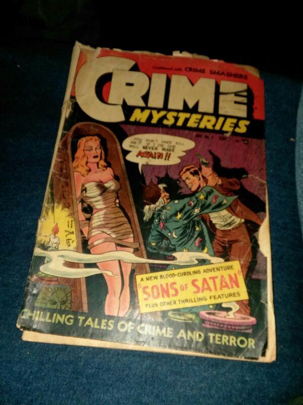CRIME MYSTERIES 7 ribage comics 1953 golden age Horror crime GGA bondage cover!