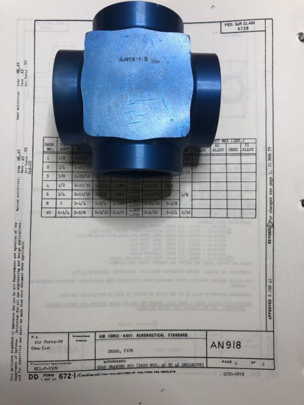 """AN918-10D 1-1/4"""" NPT Aluminum Pipe Cross"""