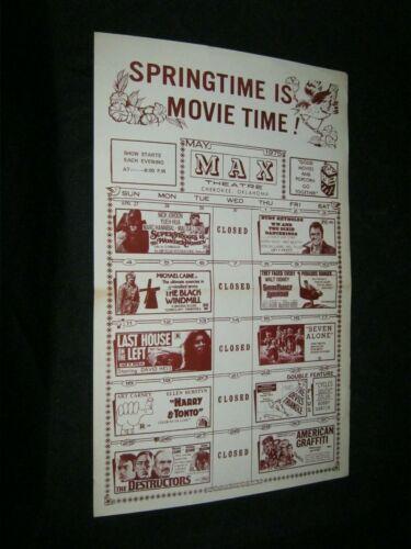 Original Cherokee Oklahoma Theatre Calendar AMERICAN GRAFFITI Burt Reynolds