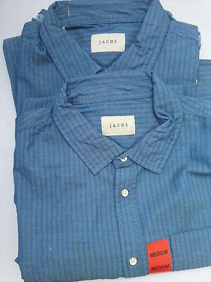 Mens JACHS J.A.C.H.S Casual Cotton Long Sleeve Navy Shirt Size Medium 2 Pack
