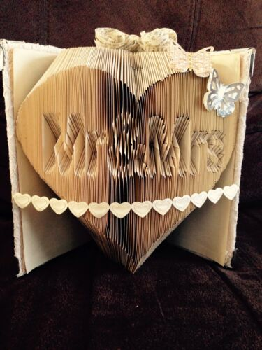 Book Art Folding Pattern Mr & Mrs in heart Wedding Anniversary Gift  #002