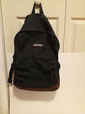 Vtg Eastpak Leather Bottom Backpack Black Suede Made in USA Adjustable 90s
