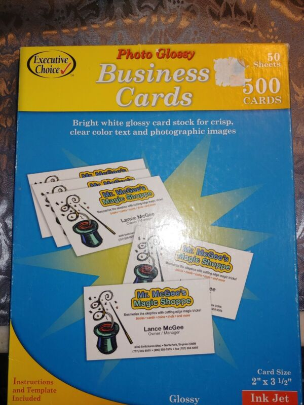 Photo Glossy Business Cards 50 Sheets 500 Cards White Inkjet