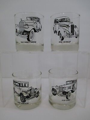 "Vintage Set of 4 1930 Automobile Rock Glass Mid-Century Bar Ware 3"" x 3 5/8"""