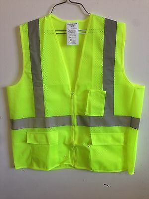 Ironwear 1284 Mesh Economy Class 2 Safety Vest With Zipper Lime Green Orange
