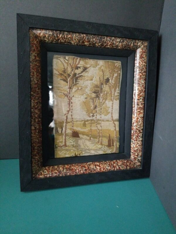 ANTIQUE EMBROIDERY 19th C Victorian Eastlake Framed Sampler Needlework Sewing