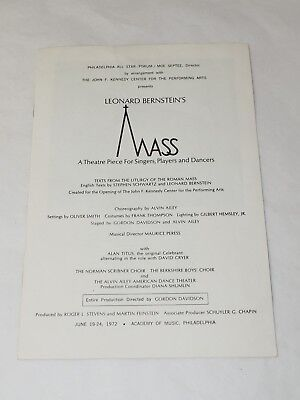 Leonard Bernstein's MASS Theatre Program Academy of Music Philadelphia 1972