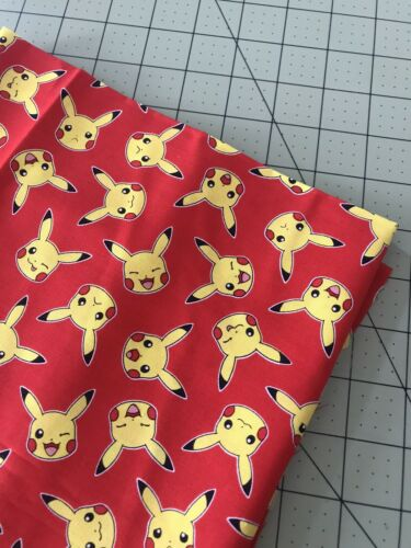 COTTON Fabric 1/4 Yard, 9 Inches X 44 Pikachu Yellow Faces On Red Background - $9.00