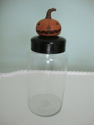Fall/Halloween Primitive Pumpkin Glass Canister - Medium