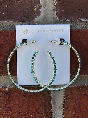 NWT Kendra Scott Birdie Hoop Earrings in Teal Agate