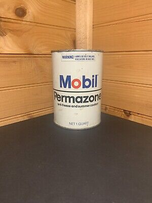 Vintage Mobil Permazone Metal 1 Quart Full Can