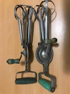 Vintage hand egg beaters x 2 in great working condition