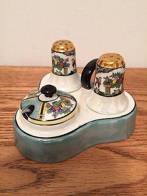 Noritake Hand Painted Lusterware Salt Pepper Condiment Set Japan