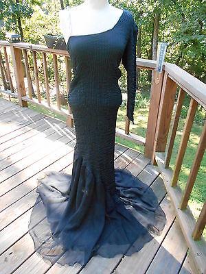 Vintage Morticia Adams  - Elvira Style Black Gothic Formal Costume Dress M / - Morticia Costumes