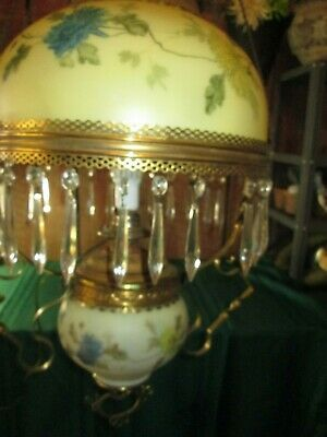 ANTIQUE PARLOR VICTORIAN HANGING OIL KEROSENE LAMP turned electric floral prism