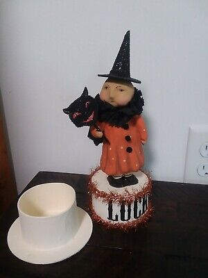 """Halloween Bethany Lowe Dee Foust 10"""" Witch Holding Black Cat Stick Retired"""
