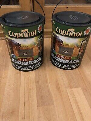 2 X Cuprinol Ducksback Silver Copse Fence Paint 5 litres + Brush & roller Set