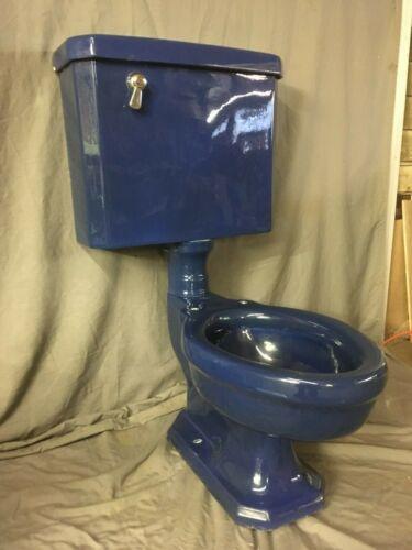 Antique Deco Ceramic Cobalt Blue Porcelain Toilet Vtg Standard Madera Old 21-20E