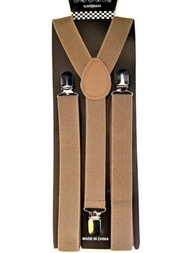New Punk Tan Khaki Brace Suspenders