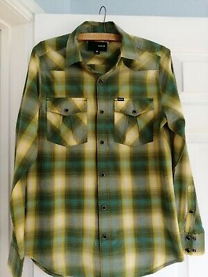 GC Hurley Size M Green Yellow check Long-Sleeve cotton Shirt Country Western