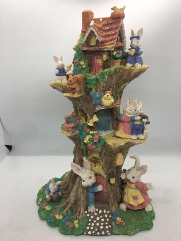 "Easter Decor Bunny Clubhouse Tree Village Rabbit Figurine Spring Resin VTG 12"""