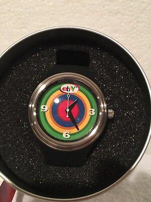 New eBay Logo Wrist Watch Employee Gift 2003 w/Case Bulls-Eye Dial Need battery?