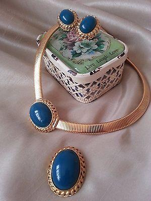 Trifari 1980's Demiparure...Necklace / Clip Earrings / Brooch