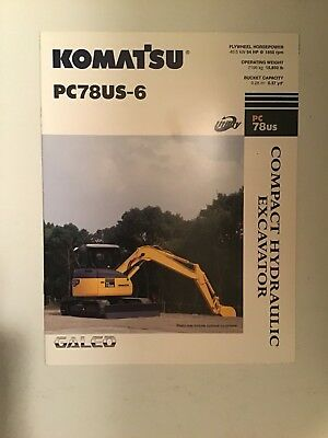 Komatsu Pc78us-6 Hydraulic Excavator Sales Literature Specifications.