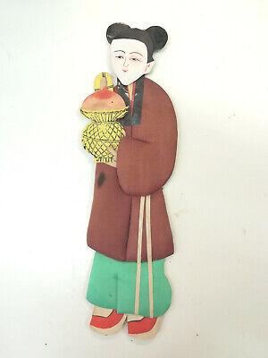 chinesische Papier Seiden Figur Pappfigur handgefertigt 1960 er Dienerin