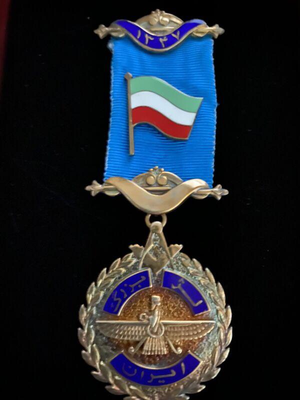 ULTRA RARE PERSIA IRAN MASONIC MEDAL GRAND LODGE TEHRAN BLUE ENAMEL 1347 / 1968