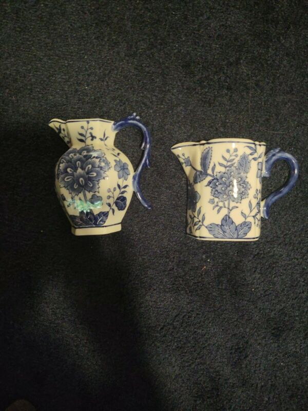 Floral Pitcher Wall Pocket Planter Blue White Porcelain / Lot of 2
