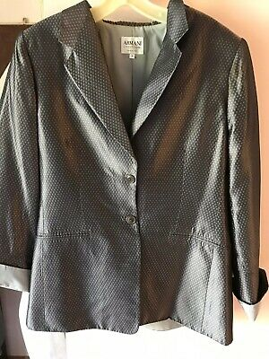 Armani Colleziini Italy Antinea  Silk Acetate Lined Blazer Jacket Ladies 50